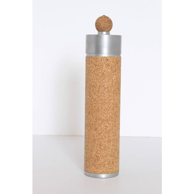 "Machine Age Art Deco cocktail shaker spun aluminum/cork. Rare 14"" tall Skyscraper shaker. Corkball finial, cork disc cap-..."