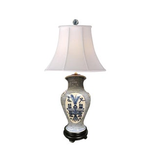 Blue and White Porcelain Lamp For Sale