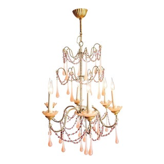 A boudoir chandelier with handblown rose glass droplets and beads, circa 1920 For Sale