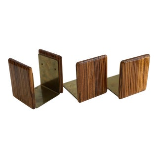 Zebra Wood and Brass Desk Set with Bookends - Set of 3