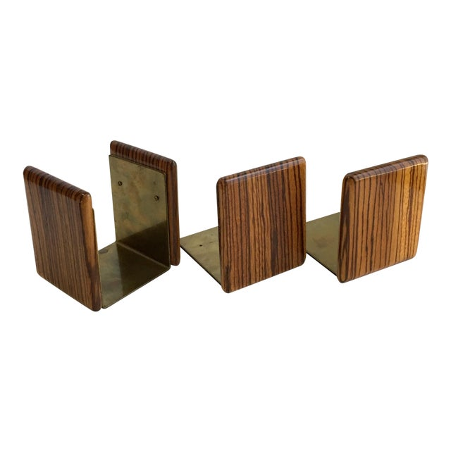 Zebra Wood and Brass Desk Set with Bookends - Set of 3 For Sale