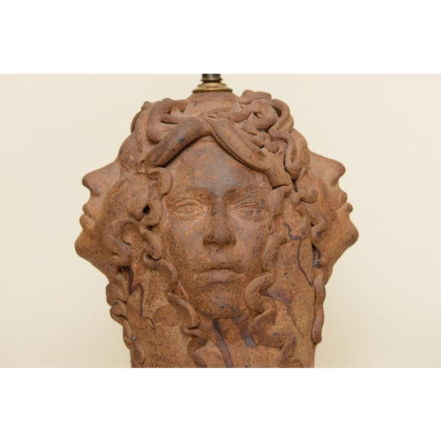 Hallmarked Unusual Medusa Head Studio Pottery Sculpted Lamp - Image 2 of 10