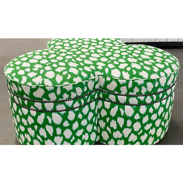 Textile Contemporary Large Cloverleaf-Shaped Ottoman Upholstered in Kate Spade Fabric For Sale - Image 7 of 9
