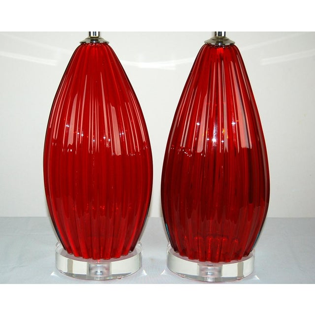 Murano Vintage Murano Glass Table Lamps Scarlet Red For Sale - Image 4 of 9