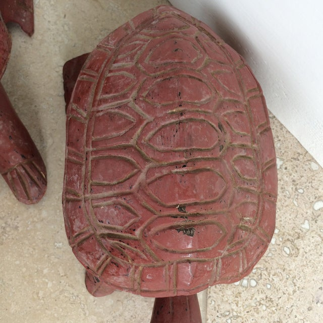 Hand Carved Wooden Turtles - Pair For Sale In Atlanta - Image 6 of 7