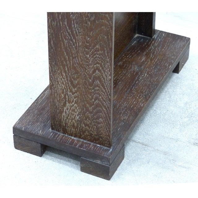 Art Deco/Arts & Crafts Cerused Oak Cheval Floor Mirror For Sale - Image 5 of 7