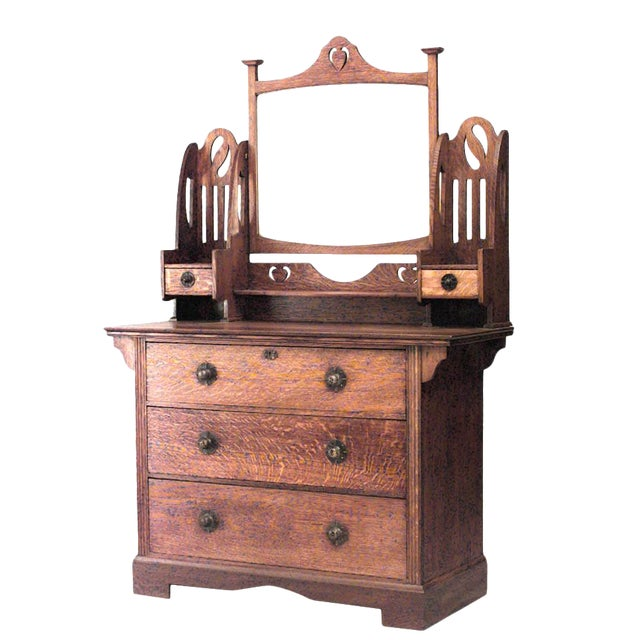 Early 20th Century English Arts & Crafts Oak Dresser With Mirror For Sale