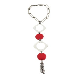 Paco Rabanne Style Dog Collar Necklace Red White Enamel Drop Pendant For Sale