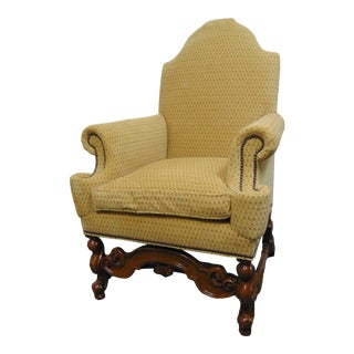 Baker William & Mary Style Walnut Lounge Chair For Sale