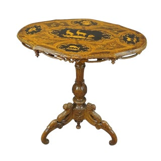 Nice Carved Marquetry Side Table Swiss Brienz 1900 For Sale