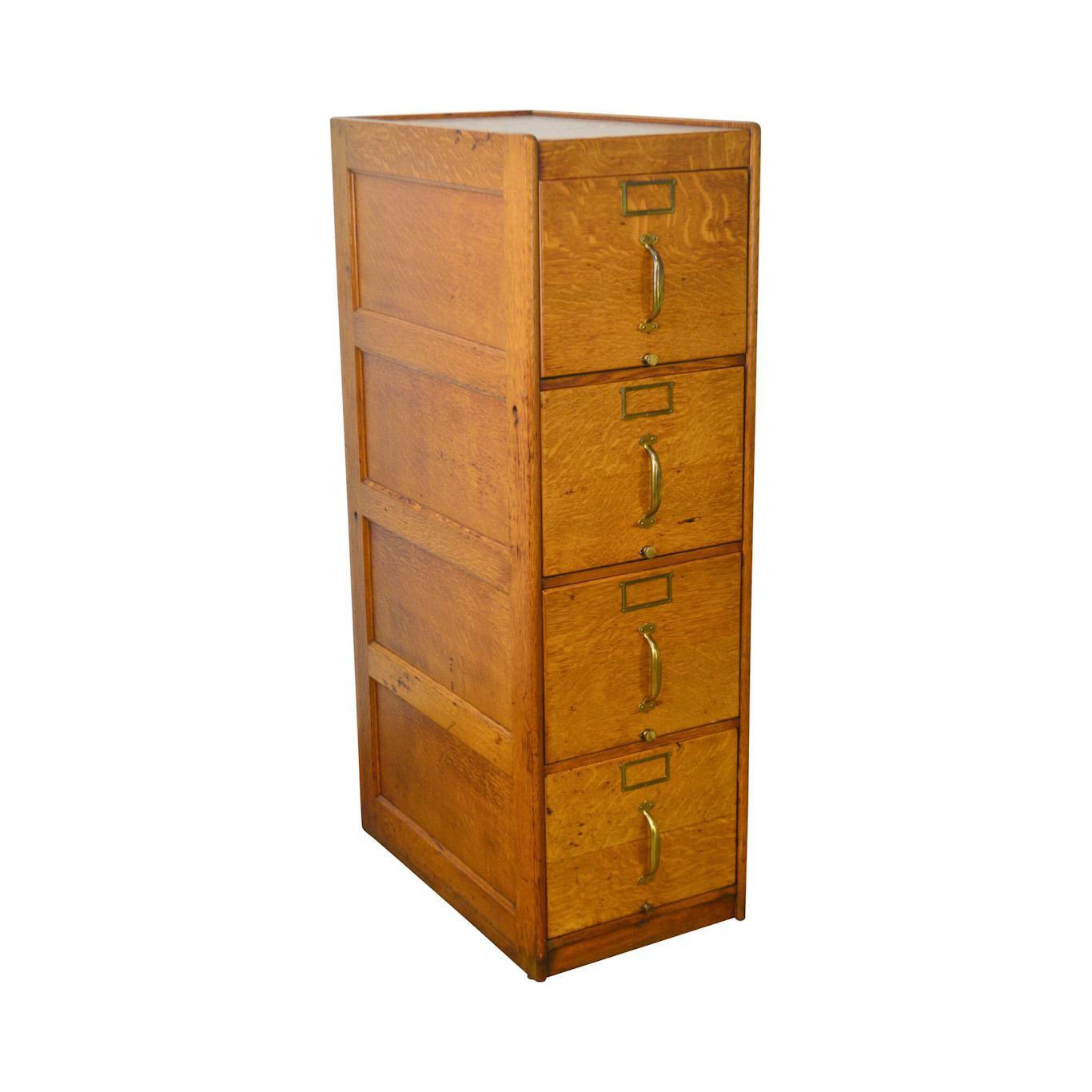 Ordinaire Antique Oak 4 Drawer File Cabinet