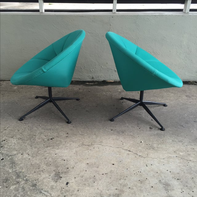 Turquoise Saucer Swivel Chairs - A Pair - Image 7 of 9
