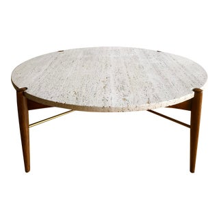Danish Modern Bruno Mathsson for Dux Italian Travertine and X Base Brass Round Coffee Table For Sale