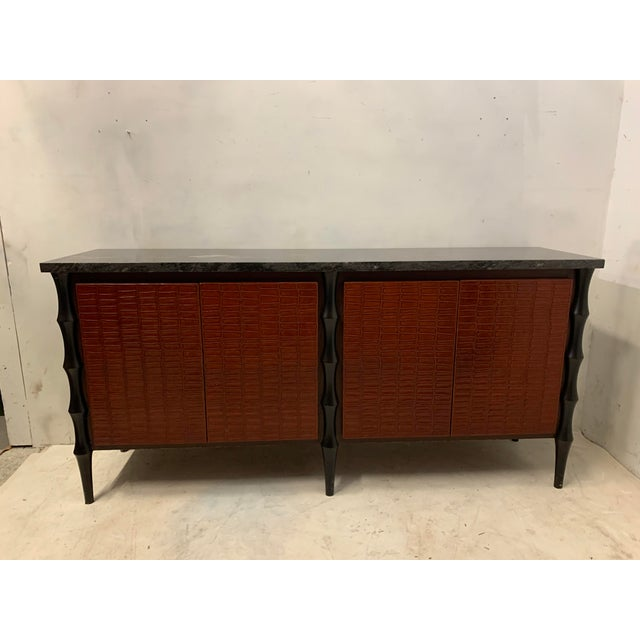 1980s Billy Baldwin Style Faux Crocodile Credenza or Sideboard For Sale - Image 5 of 11