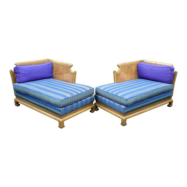 Grosfeld House Hollywood Regency Mid Century Modern Chinese Chippendale 2 Part Sofa For Sale