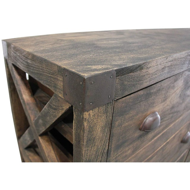 Rustic 6-Drawer Wooden Chest With Wheels For Sale In Dallas - Image 6 of 8