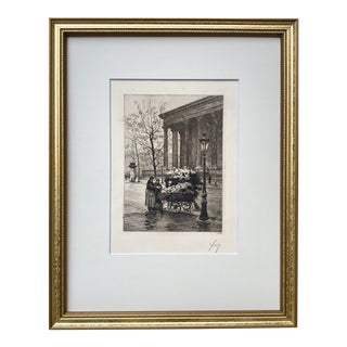 Vintage Etching Paris Flower Seller by Yvon Monay C. 1930 For Sale