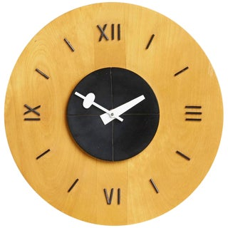George Nelson for Howard Miller Birchwood Wall Clock For Sale