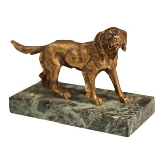 Early 20th Century French Bronze Setter Dog Signed C. Fradin on Marble Base For Sale