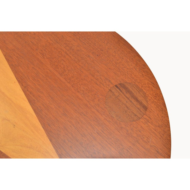 Brown Mid-Century Modern Round Mahogany Wood Marquetry Side / Cocktail Table Italy For Sale - Image 8 of 13
