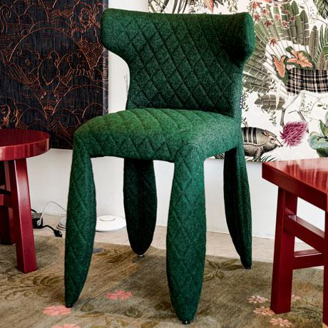 Moooi Moooi Green Heathered Wool Upholstered Dining Chair For Sale - Image 4 of 5