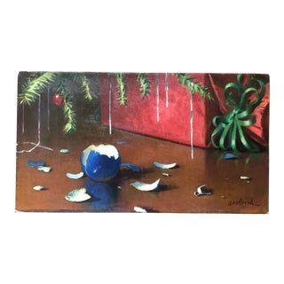 Broken Ornament Still Life by Ray Goodbred Christmas 1978 For Sale