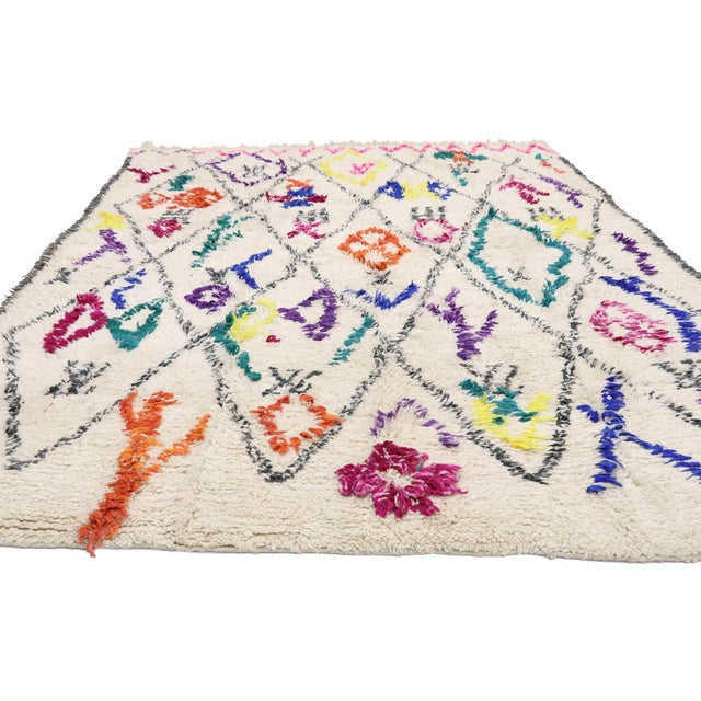 """Boho Chic Contemporary Berber Moroccan Azilal Rug - 6'6"""" X 9' For Sale - Image 3 of 9"""