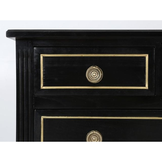 Gold French Louis XVI Ebonized Style Commode For Sale - Image 8 of 12