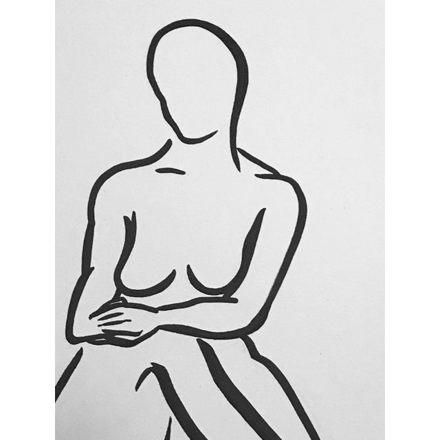 """This original pen & ink drawing by textile designer and artist, Christy Almond, depicts a female figure seated in a """"lady..."""