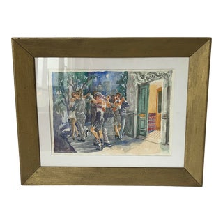 "Framed Martha Montero ""Los Compases en La Vereda"" Watercolor For Sale"