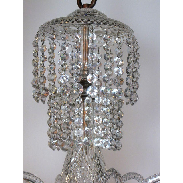 White Six Light Large Crystal Chandelier For Sale - Image 8 of 8