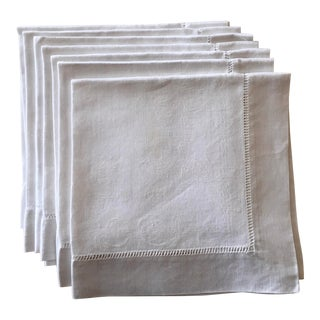 Antique White Linen Damask Napkins - Set of 9 For Sale