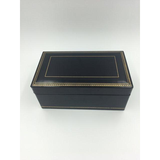 Black Leather Embossed Cigar Humidor. A stylish storage item!