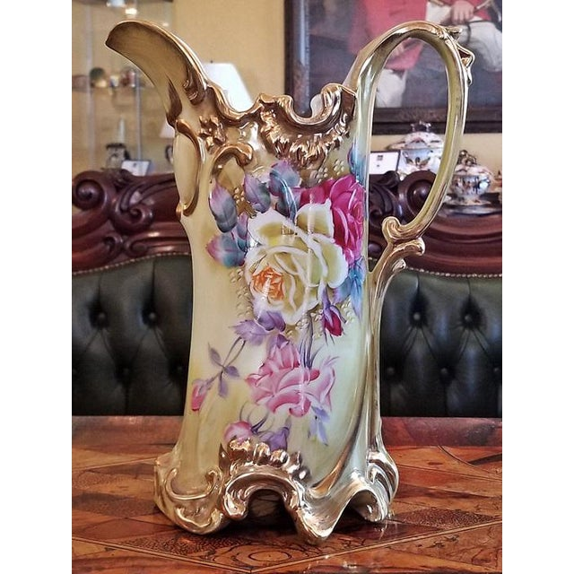Gold Early 20c Nippon Handpainted Porcelain Pitcher/Jug For Sale - Image 8 of 8