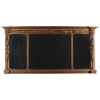Empire Gilt Classical and Foliate Carved Triptych Over Mantel Mirror For Sale