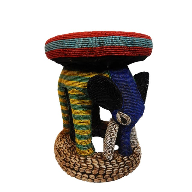 African Beaded Bamileke Elephant Stool - Image 2 of 10