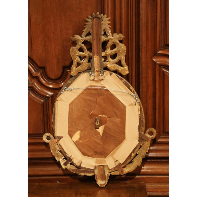 Wood Mid-18th Century French Louis XVI Carved Giltwood Wall Barometer Selon Toricelli For Sale - Image 7 of 8