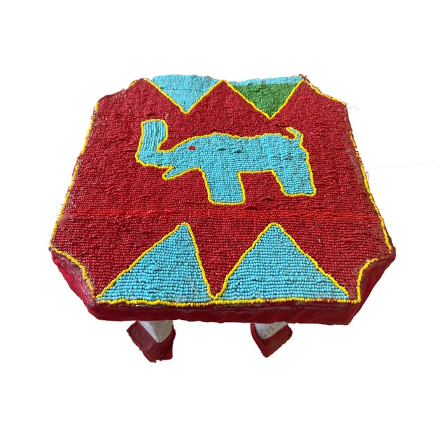 """African Yoruba Beaded Low Stool Nigeria 8.5"""" H For Sale In New York - Image 6 of 6"""