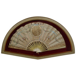 Framed 18th Century Hand-Painted Fan For Sale