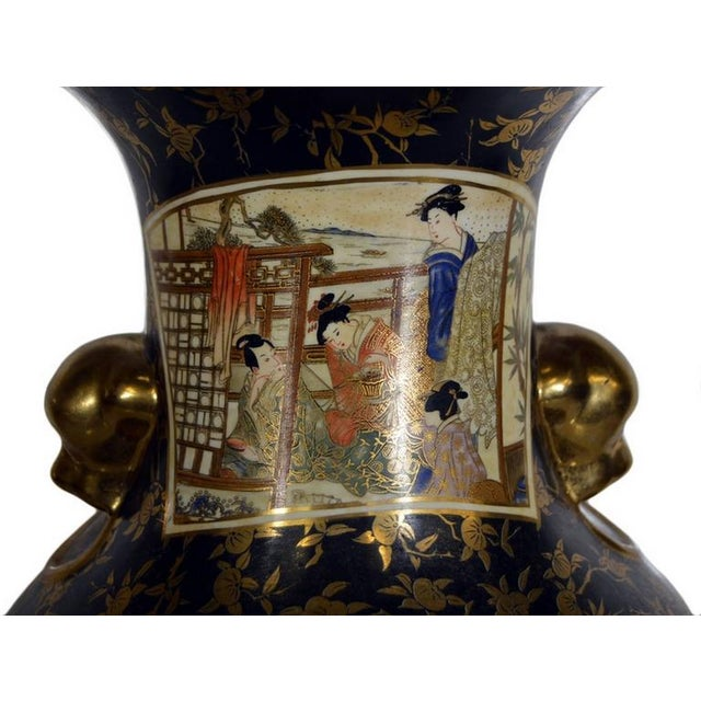 Vintage Hand-Painted Porcelain Vase with Gilded Accents from 20th Century, China For Sale - Image 4 of 10
