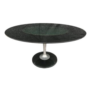 Vintage Chromcraft Smoked Lucite Oval Tulip Dining Table For Sale