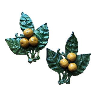 Majolica Style Glazed Pottery Lemons - A Pair For Sale
