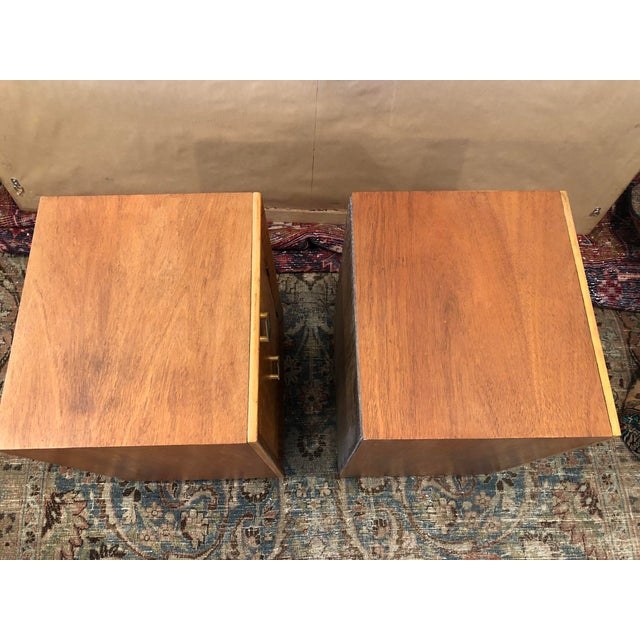Mid Century Art Deco Night Stands W Movingui Wood Vaneer - a Pair For Sale - Image 11 of 13