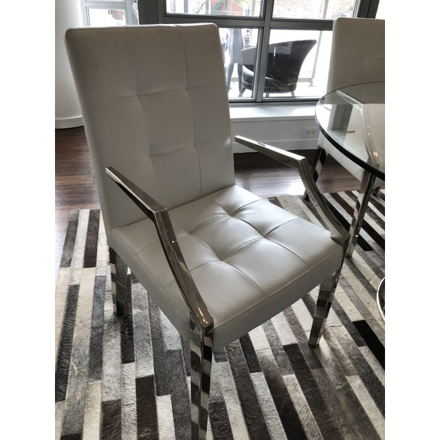 2010s Art Deco White Leather Dining Chairs and Glass Table - 5 Piece Set For Sale - Image 5 of 6