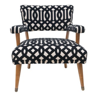Mid- Century Modern Black and White Pattern Velvet Accent Chair For Sale