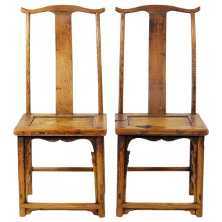 Antique Chinese High Back Lamp Hanger Side Chairs - a Pair For Sale