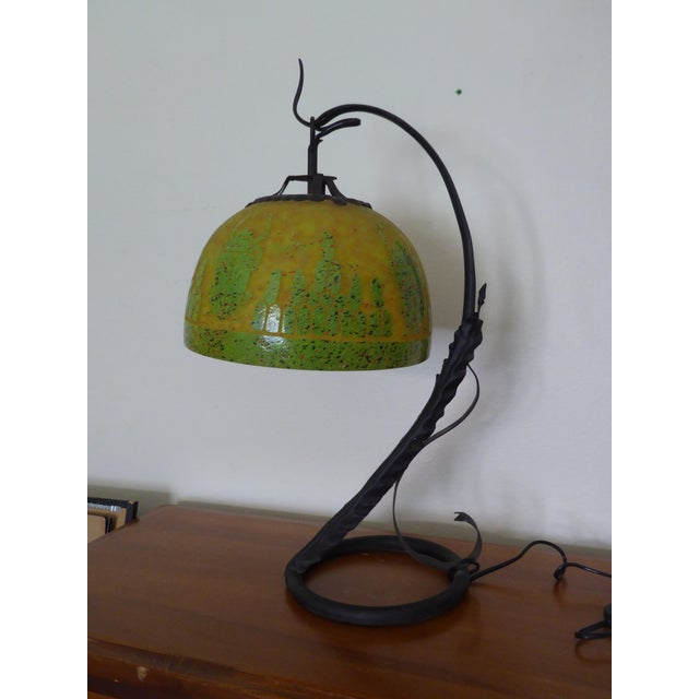 Art Deco French Cameo Glass Green Table Lamp Light by Charder ~Charles Schneider For Sale - Image 10 of 10