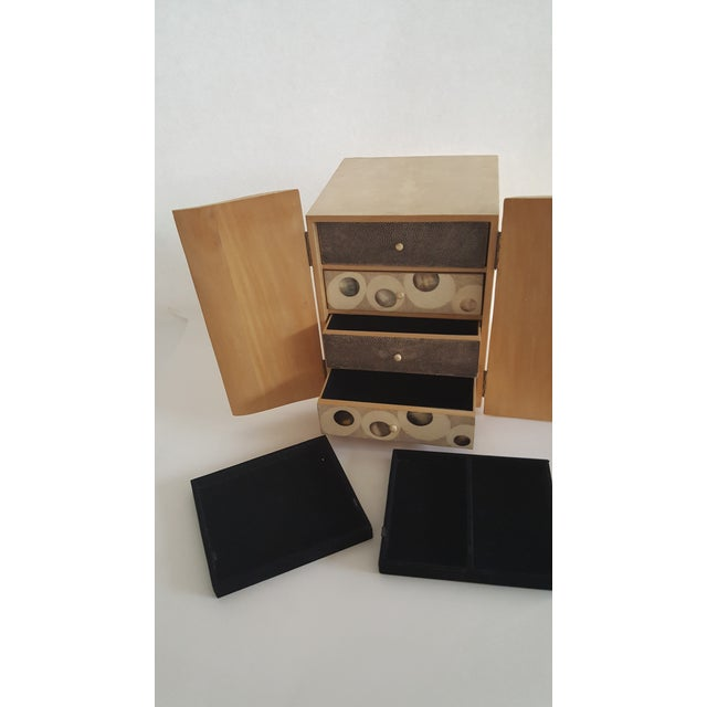 R & Y Augousti Wood & Shagreen Jewelry Box - Image 4 of 9