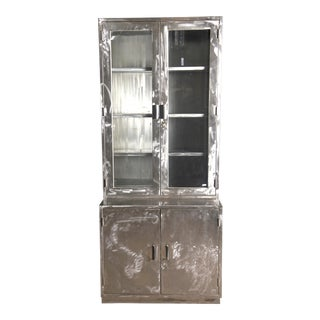 Mid-Century French Polished Steel and Glass Industrial Cabinet For Sale