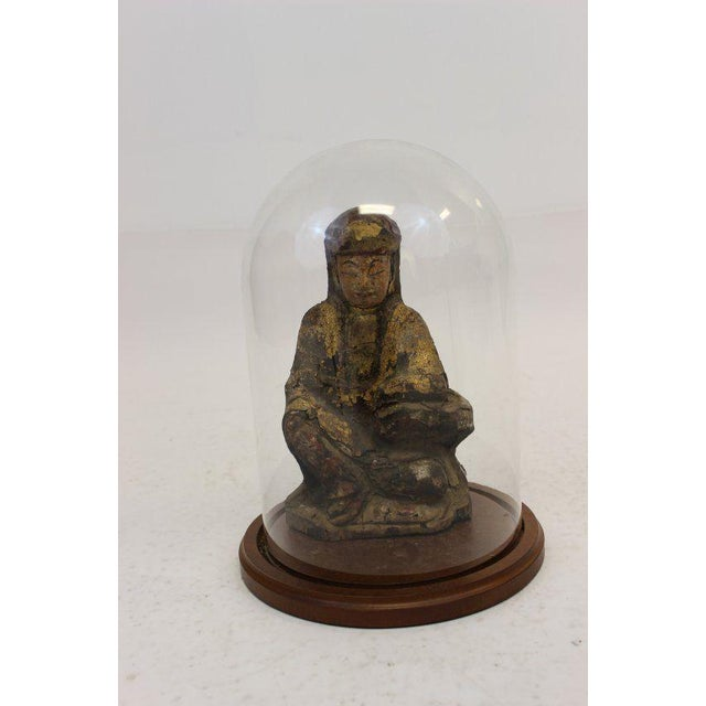 Brown Ancient Asian Buddha Wood Sculpture & Glass Dome For Sale - Image 8 of 8